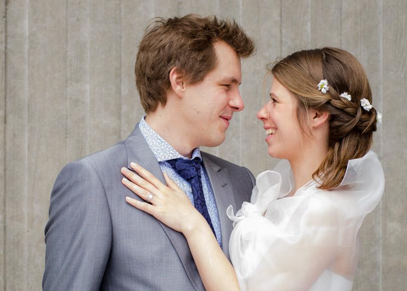 bride smiling groom