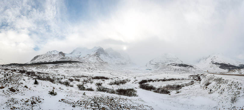 columbia icefield glacier panorama photo