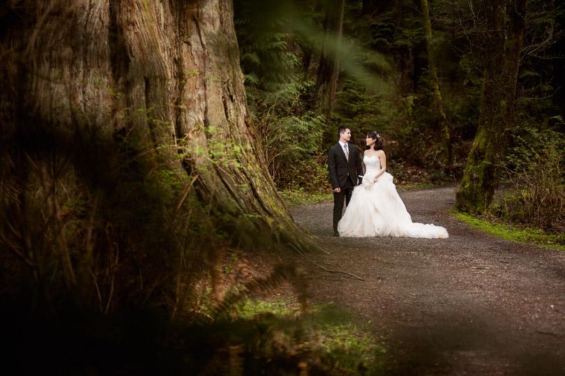 bride groom stanley park vancouver walk