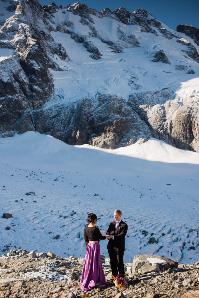 mountain top ceremony at Serratus glacier in Squamish