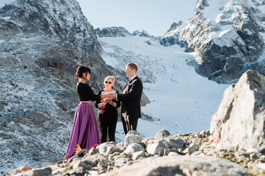 Serratus glacier elopement ceremony