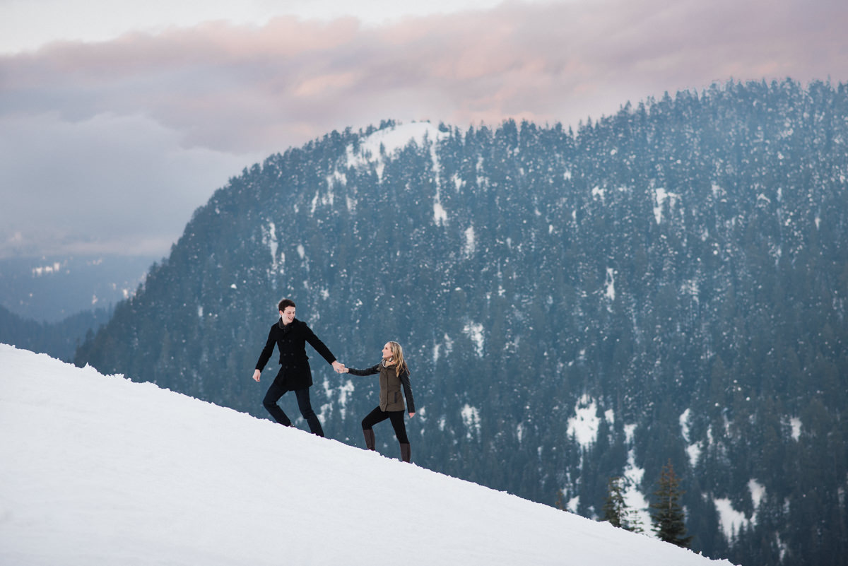 Grouse Mountain engagement photos in the snow