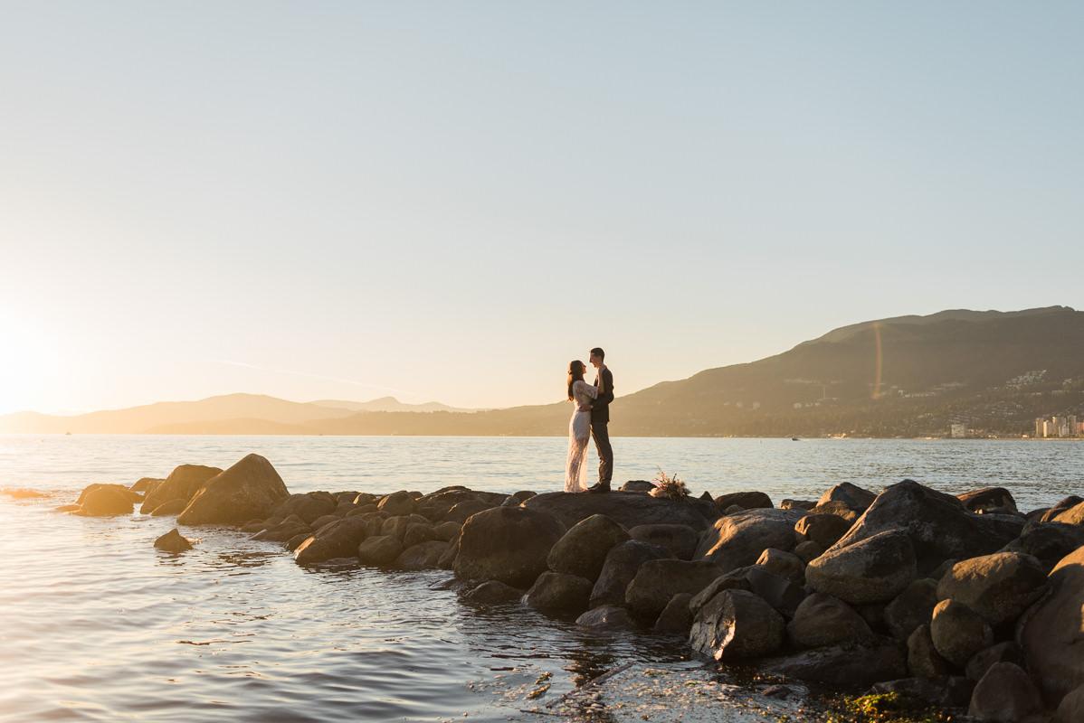 sunset beach elopement vancouver