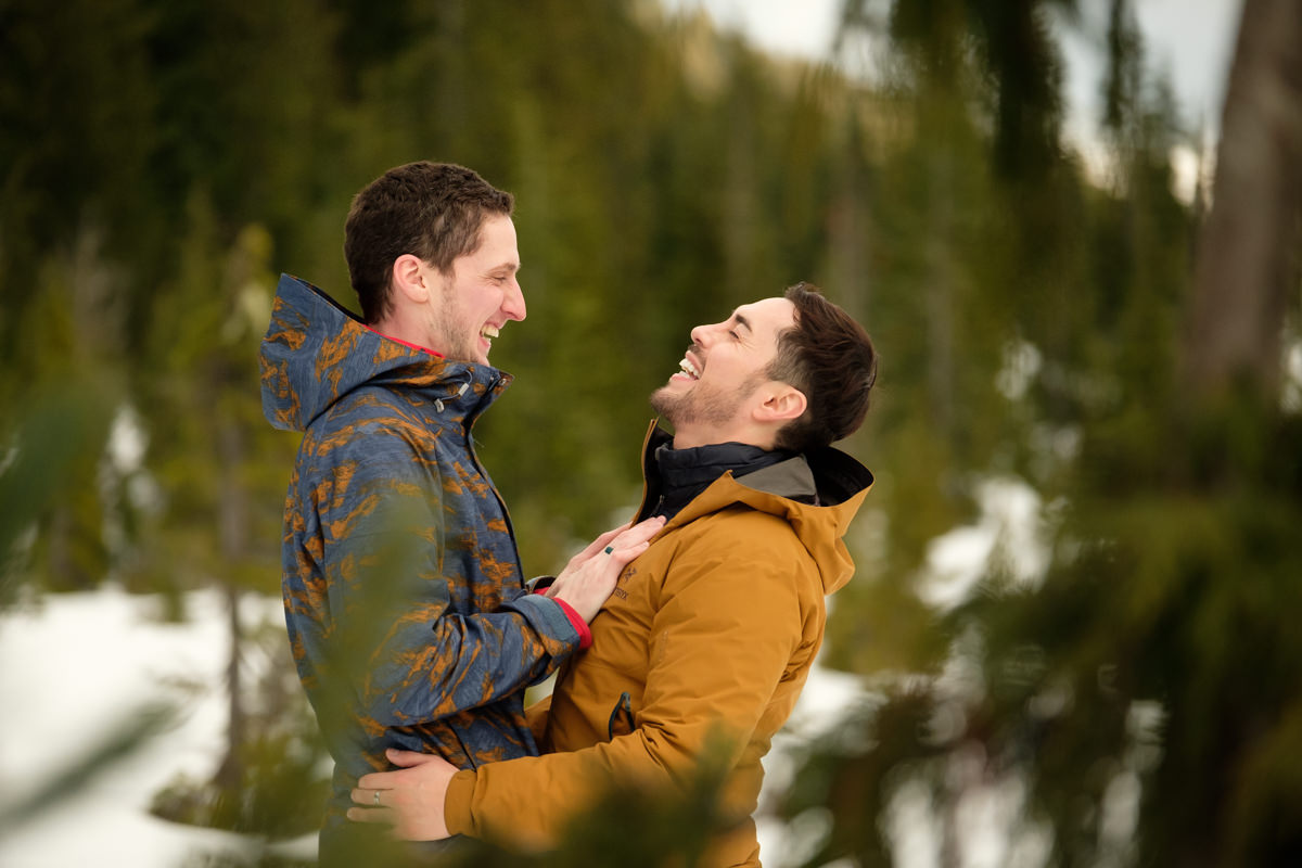 winter engagement shoot gay couple