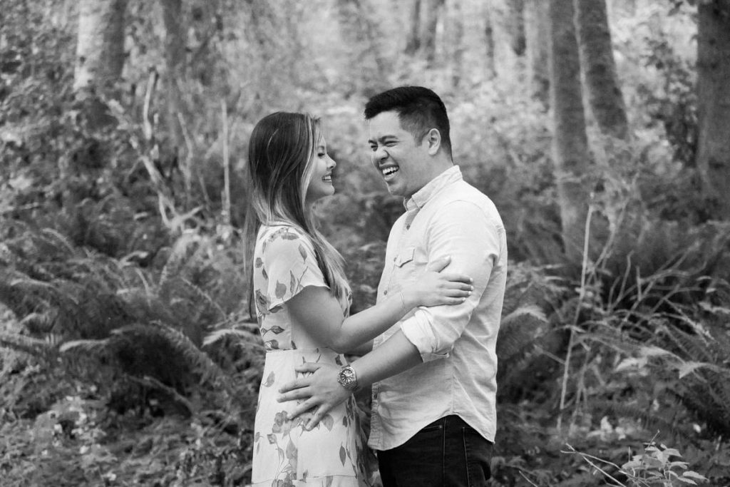 black and white forest engagement photos in Vancouver