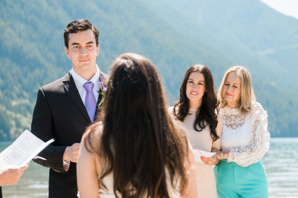 groom and guests during their Maple Ridge wedding ceremony