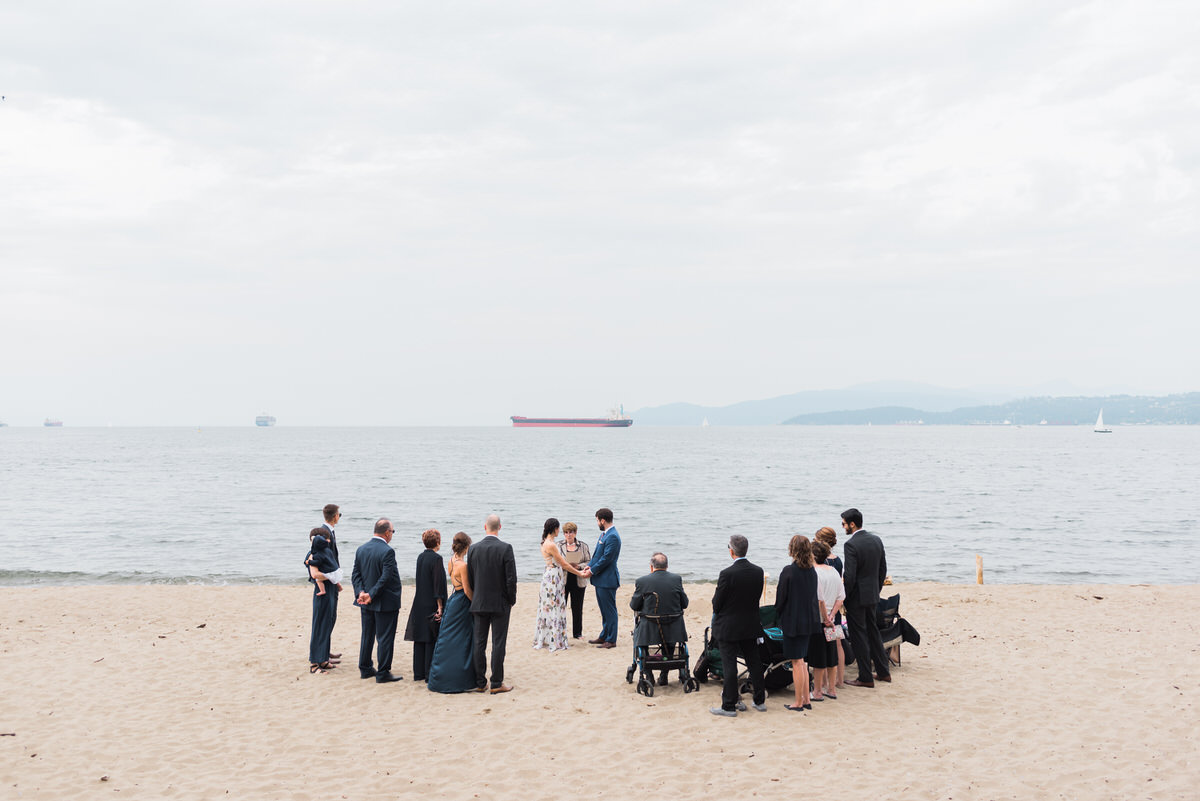 intimate wedding ceremony at Third Beach in Vancouver