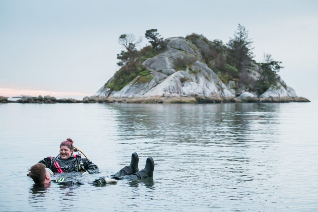 diving engagement photo Whytecliff Park