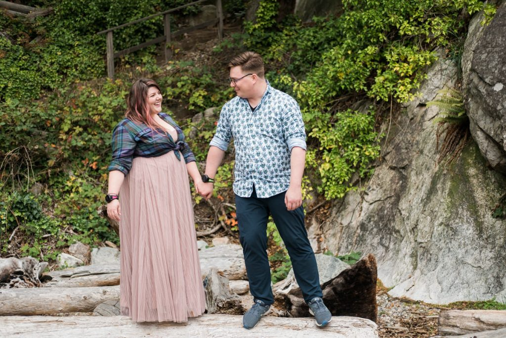 engaged couple at Whytecliff Park